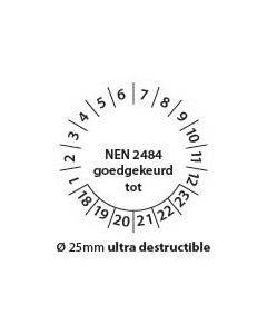 Keuringstickers-nen2484-zwart-wit-25mm-ultra-destructible-rond