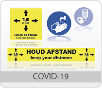 COVID-19 houd afstand pictogrammen
